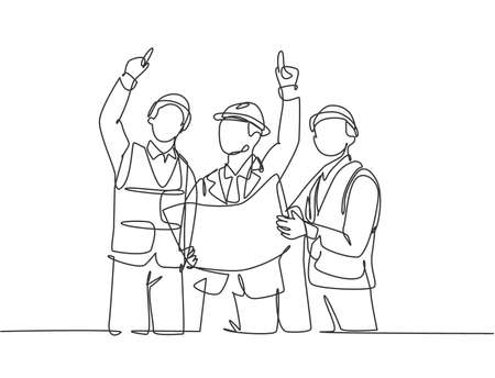 Single continuous line drawing of young architect holding blueprint and discussing building construction with foreman. Design architecture concept one line draw design vector graphic illustration