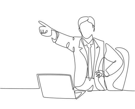 One continuous line drawing of young furious male manager pointed in his finger and drive away his sacked staff out of the room. Job dismissal concept single line draw design vector illustration
