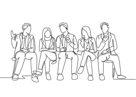 One continuous line drawing of young male and female interviewee sitting on chair waiting for their turn to be interviewed. Job applicant process concept single line draw design vector illustration