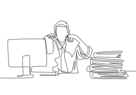 Single continuous line drawing of young mad stressful businessman tearing paper in his work desk at his office. Business project failure concept one line draw graphic design vector illustration