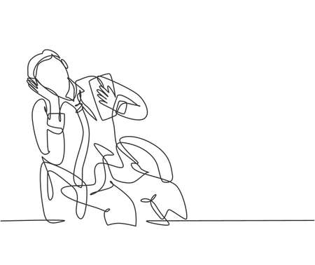 One single line drawing of young broken heart male worker crying on work chair while he was working. Business fatigue at the office concept continuous line draw design graphic vector illustration