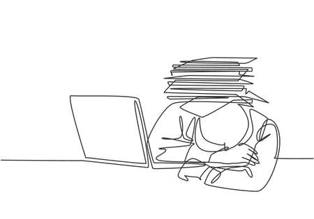 Single continuous line drawing of young despair employee got crushed by pile of papers on his desk. Work overload pressure at the office concept. One line draw graphic design vector illustration