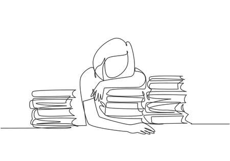 One single line drawing of young bored female college student fall asleep on pile of books while studying at library. Learning concept. Modern continuous line draw design graphic vector illustration
