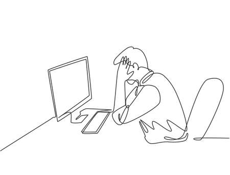 Single continuous line drawing of young tired company worker covering his face with hand after read financial annual report. Work fatigue at the office concept one line draw design vector illustration