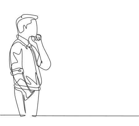 One single line drawing of young male worker seriously staring out of the window from the office building. Focus thinking company growth concept continuous line draw design vector graphic illustration