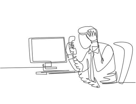 Single continuous line drawing of young angry worker mad at phone call beside pile of papers on his desk. Anger management at the office concept one line draw graphic design vector illustration