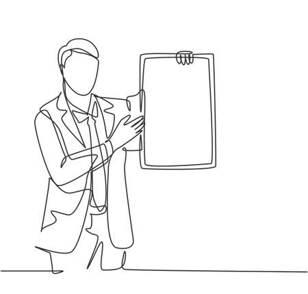 Single continuous line drawing of young presenter giving instruction using little blackboard while meeting at the office. Work presentation concept one line draw design graphic vector illustration