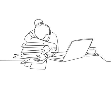 Single continuous line drawing of young tired female employee sleeping on the work desk with laptop and pile of papers. Work fatigue at the office concept one line draw design vector illustration Иллюстрация