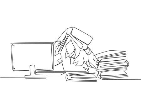 One single line drawing of young depression female employee sitting in front of computer and stack of papers and covered her head with folder. Worker concept continuous line draw design illustration