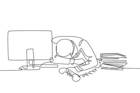 Single continuous line drawing of young despair manager give up answering phone call and cover his face on the desk. Work overload at the office concept one line draw design vector illustration