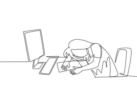 Single continuous line drawing of young tired female employee sleeping on the work desk with computer. Work fatigue at the office concept. Trendy one line draw design graphic vector illustration Vectores