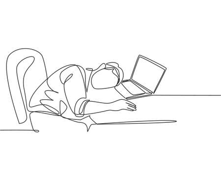 Single continuous line drawing of young sleepy male worker fall asleep on laptop while he was working on his desk. Work fatigue at the office concept one line draw design graphic vector illustration