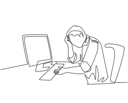 Single continuous line drawing of young tired businessman feel dizzy while he is working at office. Work fatigue after overload job concept. Trendy one line draw design graphic vector illustration Иллюстрация