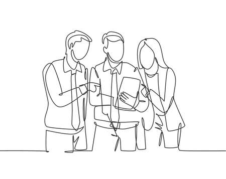 One single line drawing of young happy male and female workers talking about company project together while opening document. Business meeting concept continuous line draw design vector illustration