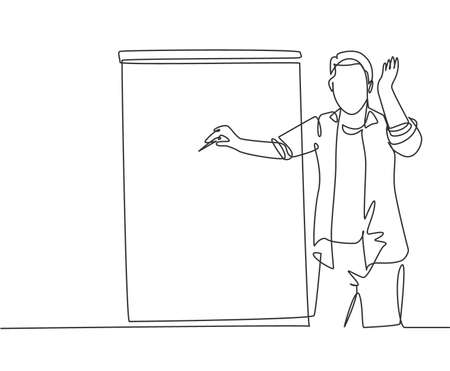 One continuous line drawing of young presenter pointing finger on audience who want to ask while doing presentation. Workshop presentation concept single line draw design graphic vector illustration 일러스트