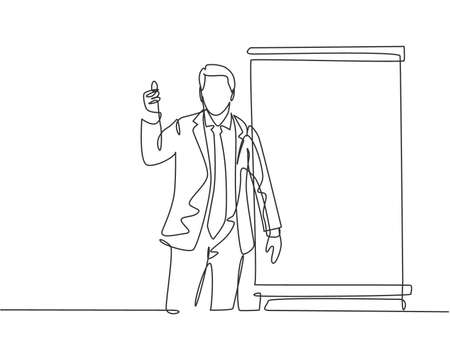 One continuous line drawing of young presenter giving thumbs up gesture to the audience while meeting. Business presentation at the office concept single line draw design vector illustration 向量圖像