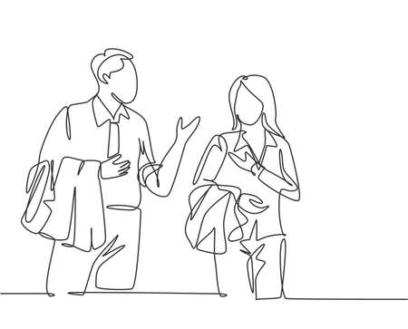 Single continuous line drawing of two young happy male and female workers get conversation together after office hour. Work small talk. Trendy concept one line draw design vector graphic illustration