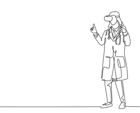 Single continuous line drawing of young female doctor giving thumb up gesture after successful finishing level at game. Virtual reality game player concept one line draw design vector illustration 向量圖像