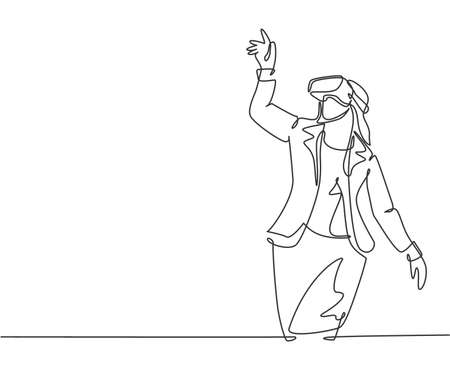One single line drawing of young happy gamer business woman wearing virtual reality glasses and pointing finger. Smart technology futuristic game player concept continuous line draw vector design  イラスト・ベクター素材