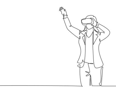 One single line drawing of young happy gamer businesswoman wearing virtual reality glasses and pointing finger. Smart technology futuristic game player concept continuous line draw vector design