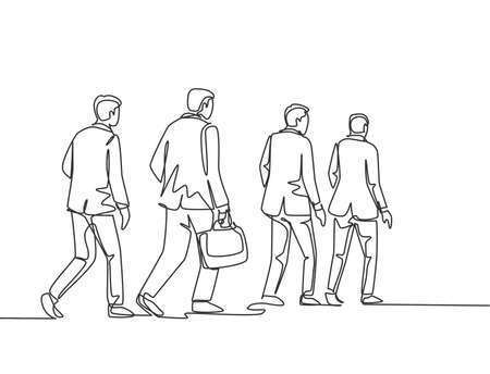 One single line drawing of young male and female employees walking together rushed so as not to be late for work. Urban commuter workers concept continuous line draw design vector graphic illustration Ilustración de vector