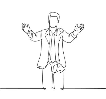 Single continuous line drawing of happy young male worker give supporting hug gesture to his office friend. Welcoming friend support concept. Modern one line draw graphic design vector illustration