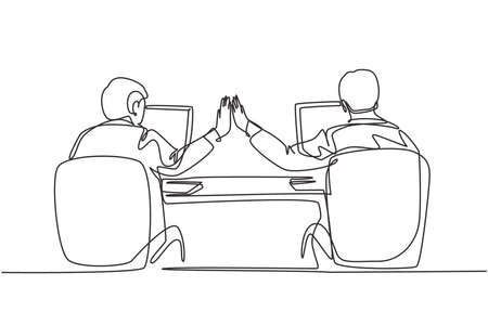 One continuous line drawing of two young happy business men high five when they knew the project running smoothly. Trendy business teamwork concept single line draw design graphic vector illustration 向量圖像