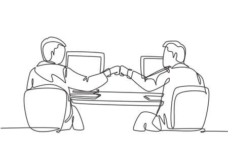 One continuous line drawing of two young happy male worker bump their fist to celebrate their success at the office. Business teamwork concept single line graphic draw design vector illustration