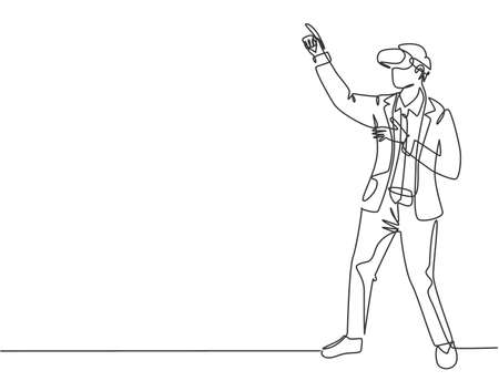 One continuous line drawing of young happy businessman simulates to press button on virtual reality goggles. Modern augmented reality video game concept single line draw design vector illustration