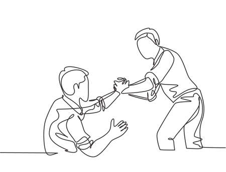 Single continuous line drawing of young happy businessman help to pull out his colleague from failure and rising again. Trendy teamwork support concept one line draw design vector graphic illustration Vectores
