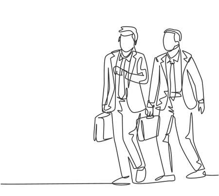 One single line drawing of two young male managers walking in hurry while looking at his watch try not be late for work. Urban commuter worker concept continuous line draw design vector illustration