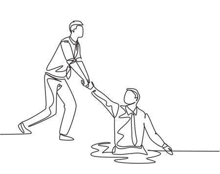 One single line drawing of young energetic businessman helps pull his colleague who falls into the hole to go out. Business teamwork support concept continuous line draw design vector illustration Vettoriali