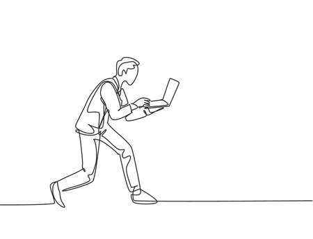 One continuous single line drawing of young rush male worker typing on laptop while he does sprint run go to office. Deadline business work concept single line draw design vector graphic illustration