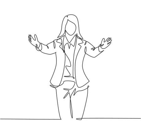 Single continuous line drawing of young happy female business worker give supporting hug gesture to her office friend. Friend support embrace concept one line draw graphic design vector illustration