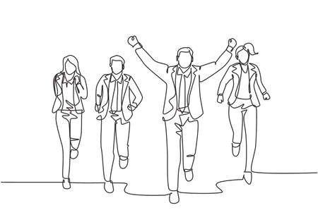 One continuous single line drawing of young happy male manager rise fist to the air after winning cross the finish line beating friends. Sprint race concept single line draw design vector illustration