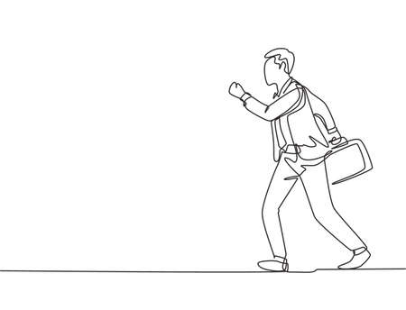 Single continuous single line drawing of young happy male urban commuter running in rush at city street to get to the office on time. Commuter worker concept one line draw design vector illustration
