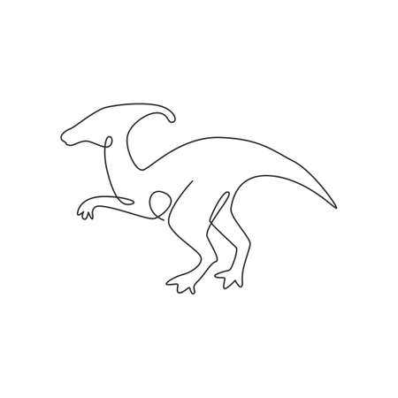 One single line drawing of aggressive parasaurolophus for logo identity. Dino animal mascot concept for prehistoric theme park icon. Trendy continuous line draw design vector graphic illustration