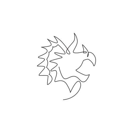 One continuous line drawing of cute head triceratops prehistory animal for logo identity. Dinosaurs mascot concept for prehistoric museum icon. Single line draw graphic design vector illustration