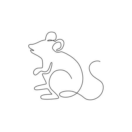 One continuous line drawing of cute standing mouse for logo identity. Funny rodent animal mascot concept for pest control icon. Trendy single line draw design vector graphic illustration Logo