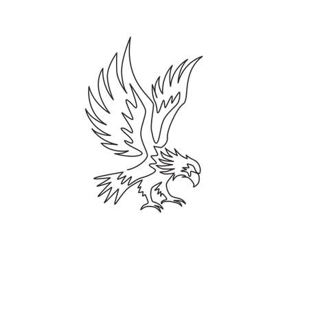 One continuous line drawing of strong eagle for delivery service logo identity. Hawk mascot concept for bird conservative park icon. Dynamic single line vector graphic draw design illustration