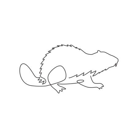 One single line drawing of funny beaver for logo identity. adorable funny rodent animal mascot concept for pet lover club icon. Trendy continuous line draw design vector graphic illustration Illustration