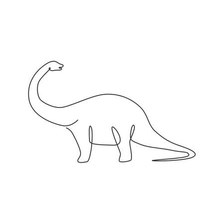 One continuous line drawing of giant brontosaurus prehistory animal with long neck for logo identity. Dinosaurs mascot concept for prehistoric museum icon. Single line draw design vector illustration