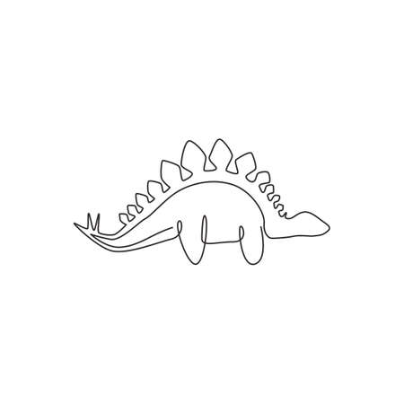 One continuous line drawing of dinosaurs animal for logo identity. Stegosaurus mascot concept for prehistoric museum icon. Modern single line draw design graphic vector illustration