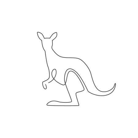 One continuous line drawing of funny standing kangaroo for national zoo logo identity. Animal from Australia mascot concept for conservation park icon. Single line draw design vector illustration