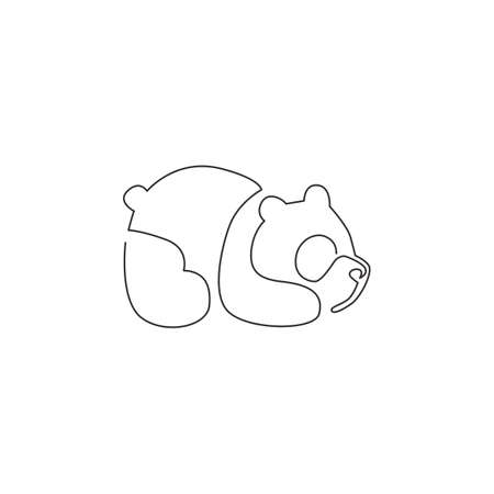 Single continuous line drawing of funny panda for corporation logo identity. Company icon concept from cute mammal animal shape. Dynamic one line draw vector design graphic illustration