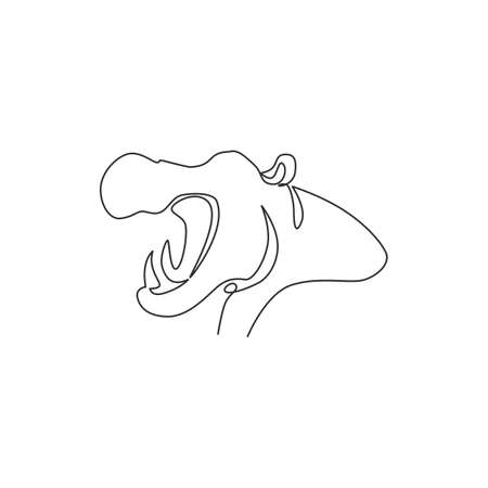 Single continuous line drawing of large cute hippopotamus for safari zoo logo identity. Huge friendly hippo animal mascot concept for conservation national park. One line draw design illustration 向量圖像