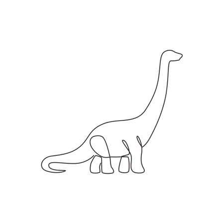 Single continuous line drawing of long neck brontosaurus for logo identity. Prehistoric animal mascot concept for dinosaurs theme amusement park icon. One line draw graphic design vector illustration