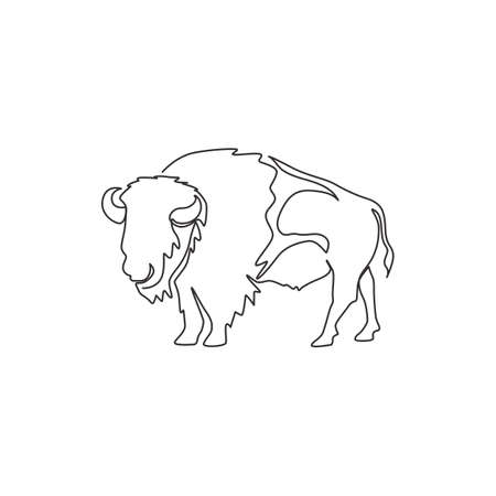 One continuous line drawing of strong north american bison for conservation forest logo identity. Big bull mascot concept for national park. Dynamic one line draw design illustration vector graphic