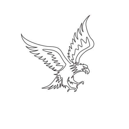 One continuous line drawing of strong eagle for delivery service logo identity. Hawk mascot concept for bird conservative park icon. Modern single line draw vector graphic design illustration