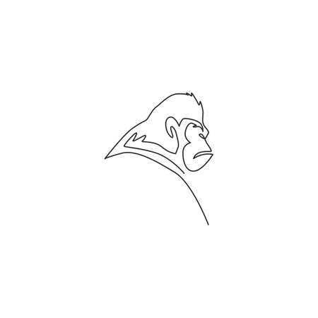 One single line drawing of gorilla head for company business logo identity. Primate animal portrait mascot concept for corporate icon. Modern continuous line draw graphic design vector illustration